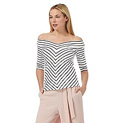 J by Jasper Conran - White striped print V neck top