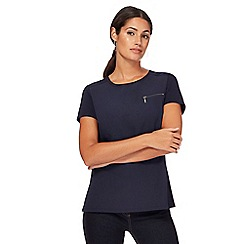 J by Jasper Conran - Navy mock zip pocket top