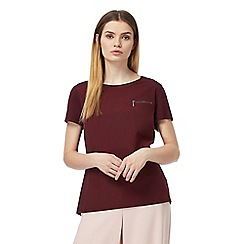 J by Jasper Conran - Dark red short sleeve woven front top
