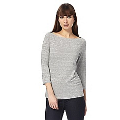 J by Jasper Conran - Grey striped boat neck top