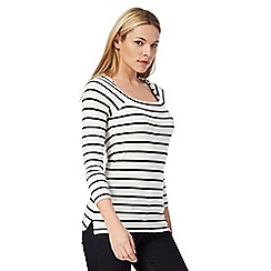 J by Jasper Conran - Ivory striped print jersey top