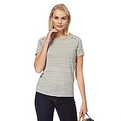 J by Jasper Conran - Grey striped textured short-sleeved top