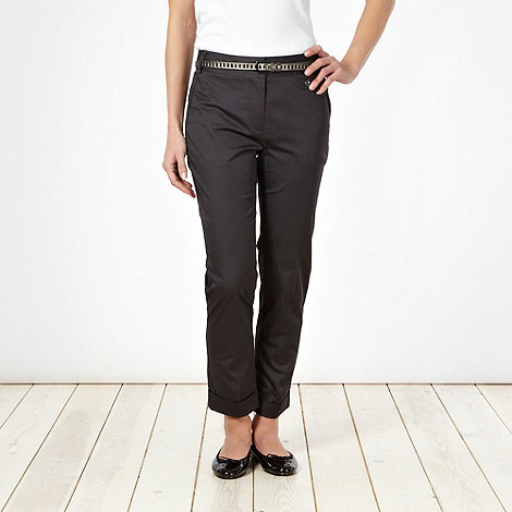 J by Jasper Conran - Dark grey sateen belted chinos - size 12