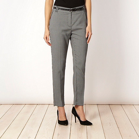 J by Jasper Conran - Black skinny belted jacquard trousers