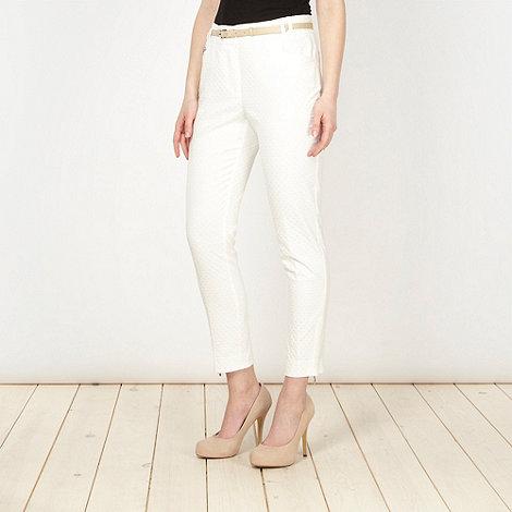 J by Jasper Conran - Designer ivory circle jacquard trousers