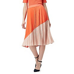 J by Jasper Conran - Orange colour block pleated skirt