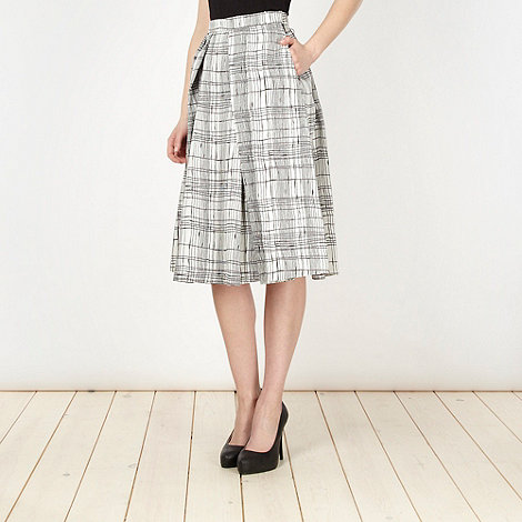 J by Jasper Conran - Designer white crosshatched jacquard full skirt