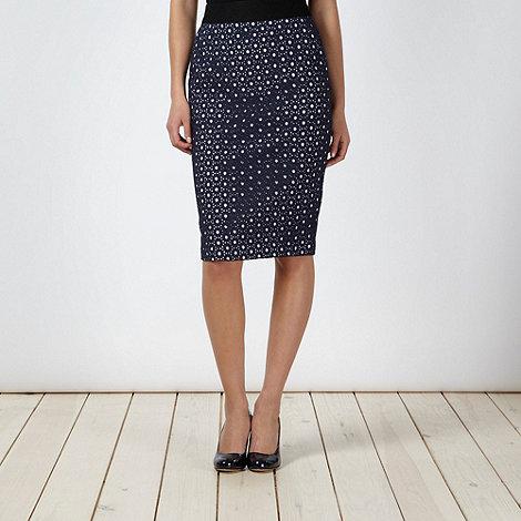 J by Jasper Conran - Designer navy broderie skirt