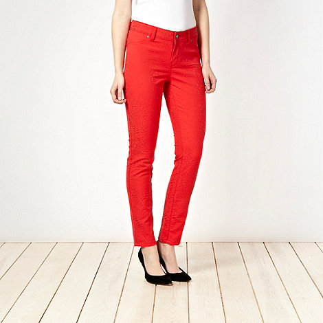 J by Jasper Conran - Red animal jacquard skinny jeans