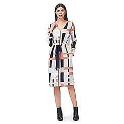 J by Jasper Conran - Multi-coloured printed v-neck long sleeve knee length tunic dress