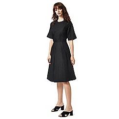 J by Jasper Conran - Black linen blend knee length skater dress