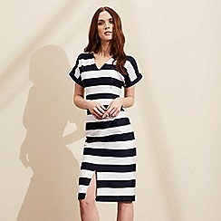 J by Jasper Conran - White and navy block striped dress