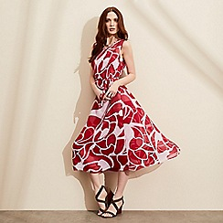 J by Jasper Conran - Red botanical print midi dress