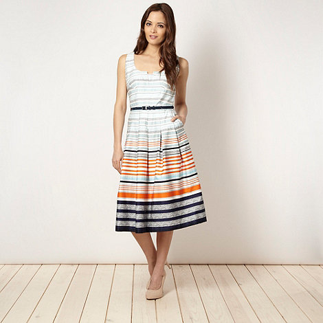 J by Jasper Conran - Designer white multi striped prom dress