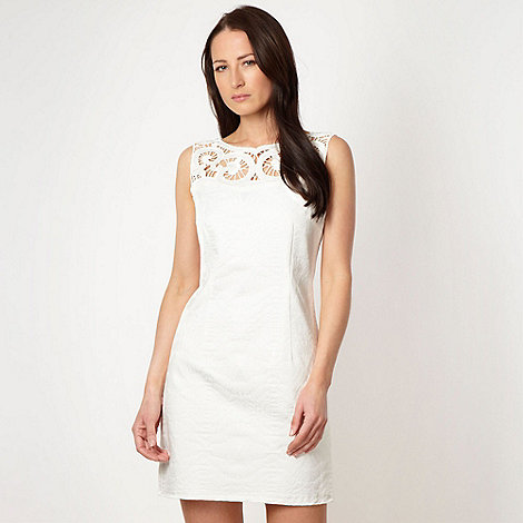 J by Jasper Conran - Designer white cutout jacquard dress