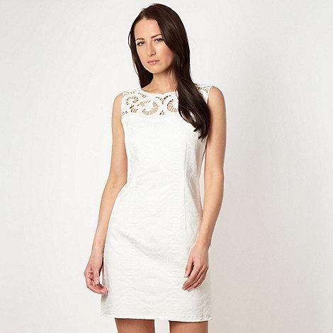 J by Jasper Conran - Designer white cutout jacquard dress
