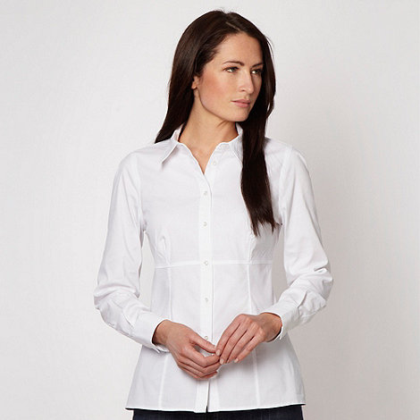 J by Jasper Conran - Designer white plain long sleeved shirt - size 16