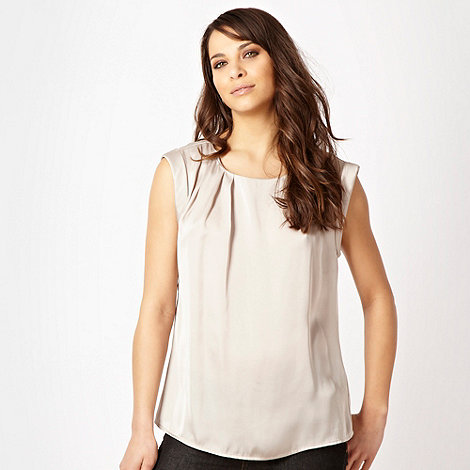 J by Jasper Conran - Beige pleated necked satin top