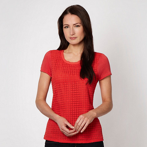J by Jasper Conran - Designer red crochet panelled t-shirt - size 16