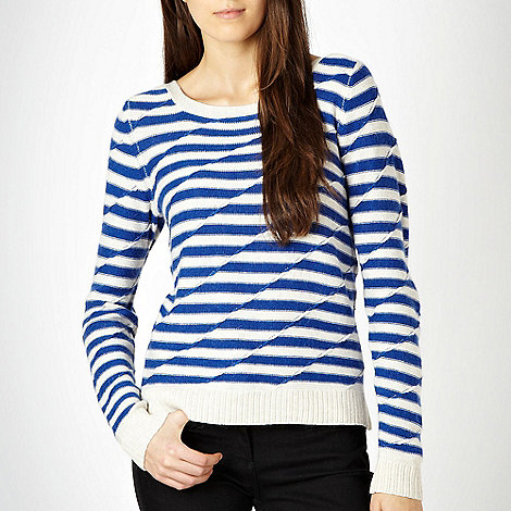 J by Jasper Conran - Blue textured striped jumper