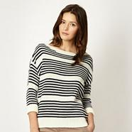 Designer navy striped zip shoulder jumper