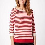 Red striped cut out jumper