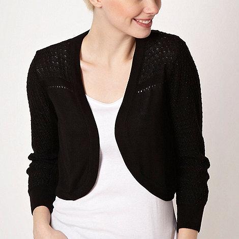J by Jasper Conran - Designer black pointelle trim shrug - size 14