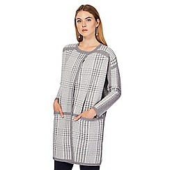 J by Jasper Conran - Grey and white dogtooth print coatigan