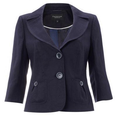 Petite navy linen suit jacket