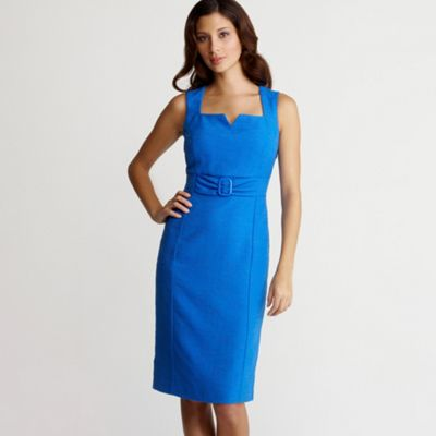 Petite blue buckle dress
