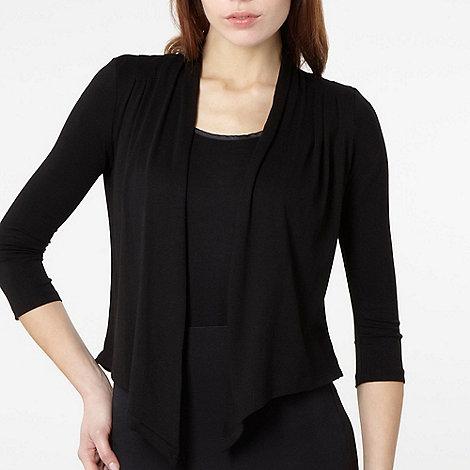 The Collection Petite - Petite black pleat drape cardigan