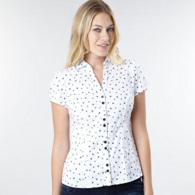 Petite white bird print blouse