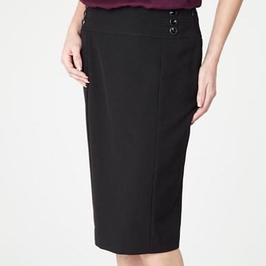 Petite black button waist skirt