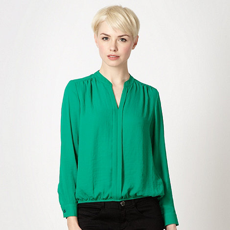 The Collection - Green pleat front bubble hem top