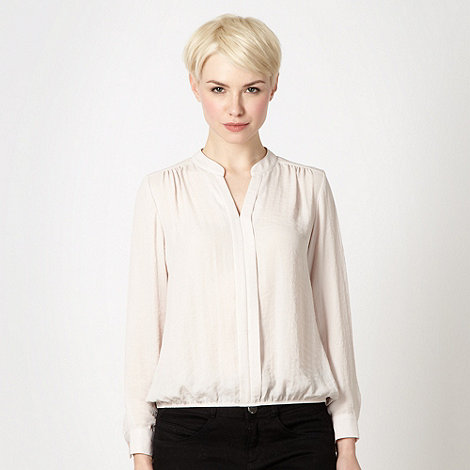 The Collection - Natural pleat front bubble hem top