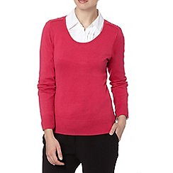 The Collection - Dark pink button shoulder petite jumper