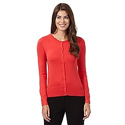 The Collection Petite - Coral plain crew neck petite cardigan