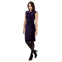 The Collection Petite - Purple velvet gathered detail dress