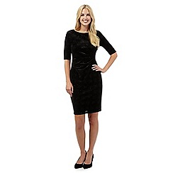 The Collection Petite - Black glitter velvet petite dress