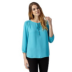 The Collection Petite - Petite turquoise tied keyhole top