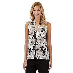 The Collection Petite - Ivory floral pleat top