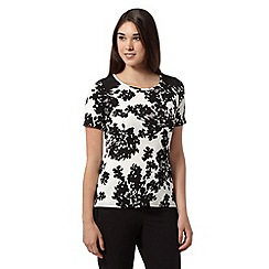 The Collection Petite - Ivory floral textured top