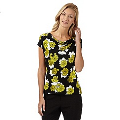 The Collection Petite - Lime floral cowl neck jersey top