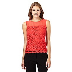 The Collection Petite - Coral floral lace front top