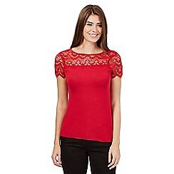 The Collection Petite - Red scalloped petite top