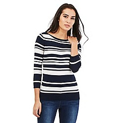 The Collection Petite - Navy striped button jumper