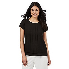 The Collection - Black pleated layered petite top