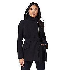 The Collection Petite - Navy belted petite coat