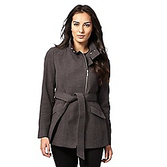 The Collection Petite - Grey biker petite coat