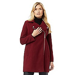 The Collection Petite - Dark red asymmetric biker coat